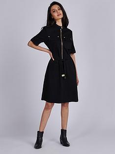 barbour-international-drifting-100-cotton-belted-dress-black