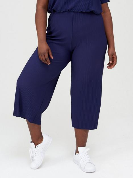 v-by-very-curve-plisse-crop-co-ord-trouser-navy