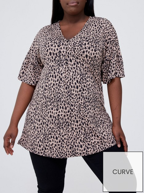 v-by-very-curve-fluted-sleeve-button-up-jersey-top-animal-print