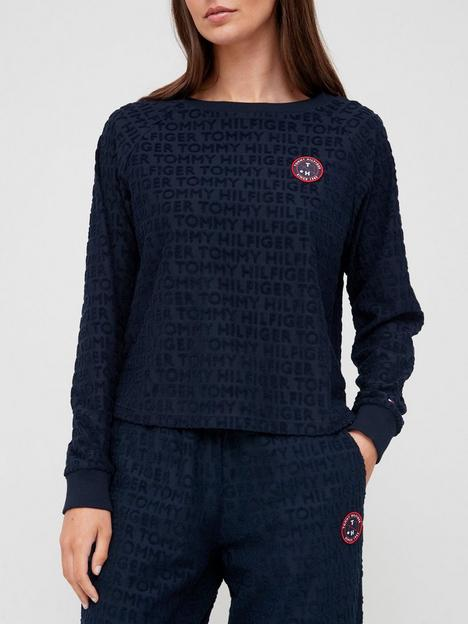 tommy-hilfiger-organic-cotton-all-over-logo-towelling-sweatshirt-navy