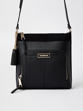 River Island Zip Pocket Front Messengery Bag - Black, Black, Women