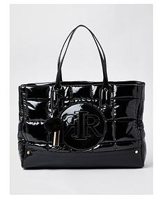 river-island-quilted-branded-tote-bag-black
