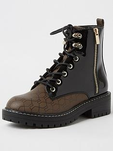 river-island-wide-fit-monogram-lace-up-chunky-boot-brownblack