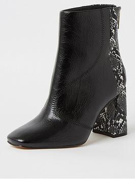 river-island-wide-fit-snake-print-block-heel-ankle-boot-black