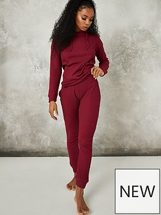missguided-missguided-waffle-loungewear-hoodie-and-jogger-set-burgundy