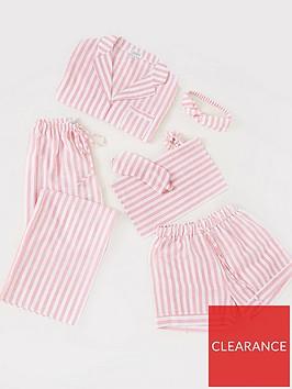 in-the-style-in-the-style-x-lorna-luxe-stripe-linen-feel-nightwear-gift-set-pink