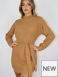 missguided-missguided-roll-neck-basic-dress-with-belt