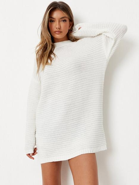 missguided-missguided-high-neck-ribbed-dress-off-white