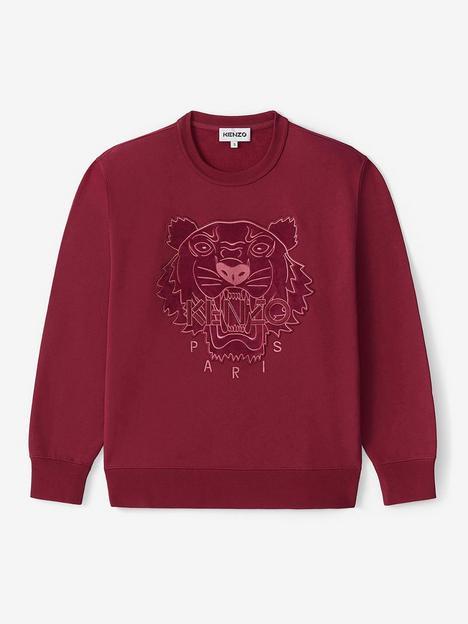 kenzo-velvet-tiger-head-embroidered-crew-neck-sweatshirt-red