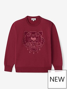 kenzo-velvet-tiger-head-embroidered-crew-neck-sweatshirt-red