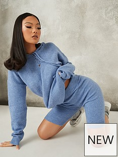 missguided-missguided-longline-knitted-shorts-coord-blue