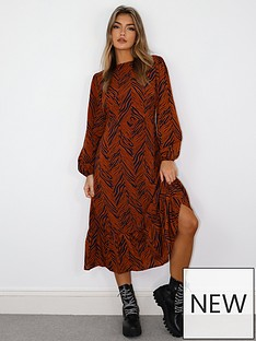 missguided-missguided-zebra-print-long-sleevenbspruffle-hem-midi-smock-dress-rust