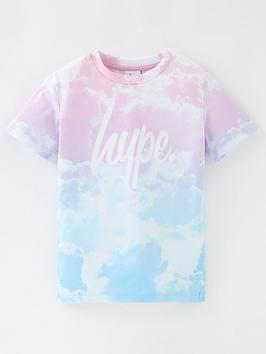 Hype Girls Pastel Clouds Short Sleeve T-Shirt - Multi