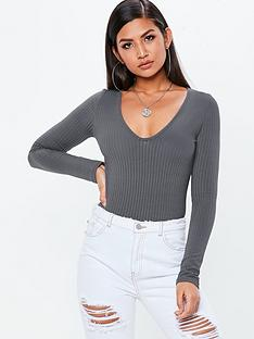 missguided-missguided-v-neck-ribbed-long-sleeve-bodysuit-grey