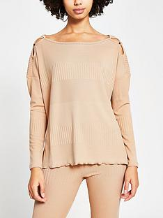 river-island-ribbed-longline-lounge-top-camel