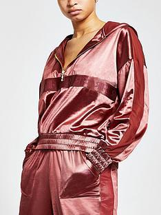 river-island-satin-mesh-hoodie-pink