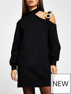 river-island-cut-out-jumper-dress-black