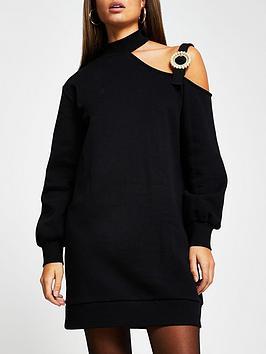river-island-cut-out-jumper-dress-black