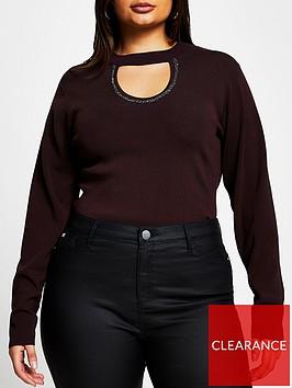 ri-plus-ri-plus-embellished-choker-knitted-top-burgundy