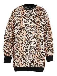 ri-petite-animal-print-mini-jumper-dress-brown