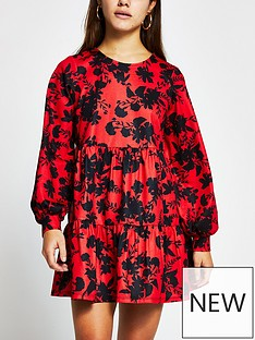 ri-petite-floral-print-mini-smock-dress-red