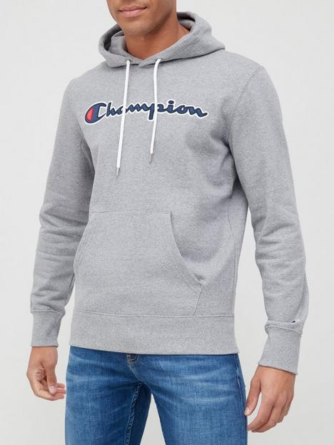 champion-logo-pullovernbsphoodie-grey