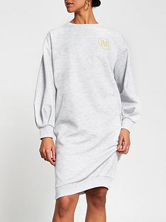 river-island-logo-midi-jumper-dress-grey
