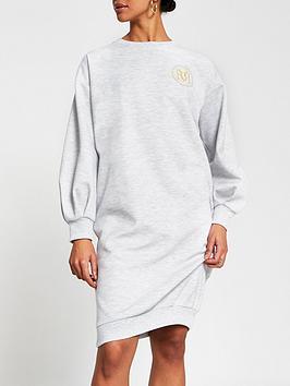 River Island Logo Midi Jumper Dress - Grey, Grey, Size Xs, Women