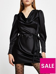 river-island-cowl-neck-tie-waist-satin-mini-dress-black