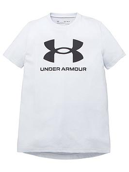 under-armour-boys-sportstyle-logo-short-sleeved-t-shirtnbsp--grey