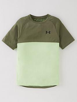 under-armour-boys-tech-colour-block-short-sleeved-t-shirt-green