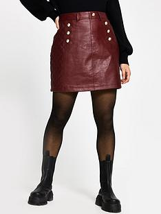 ri-petite-button-detail-quilted-pu-mini-skirt-oxblood