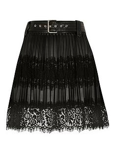 ri-petite-ri-petite-lace-mix-pleated-pu-mini-skirt-black
