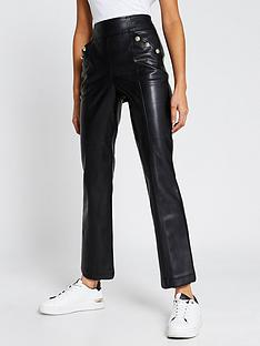 river-island-button-detail-kick-flare-pu-trouser-black