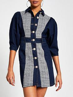 river-island-boucle-puff-sleeve-denim-mini-dress-blue