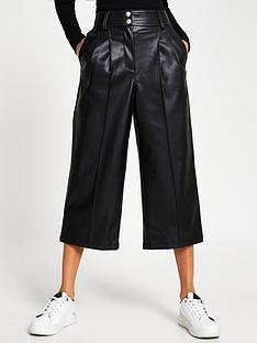 river-island-pleat-front-wide-leg-punbspculotte-black