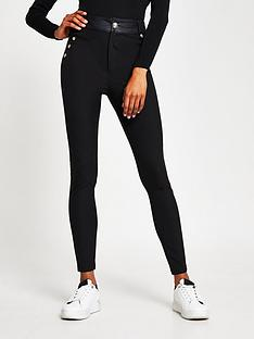 river-island-button-detail-high-waist-techno-trouser-black