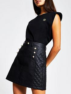river-island-button-detail-quilted-pu-mini-skirt-black