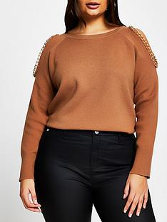 ri-plus-chain-detail-cut-out-knitted-jumper-camel