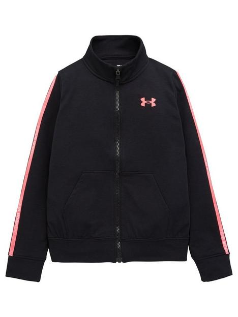 under-armour-girls-rival-terry-taped-full-zip-top-black