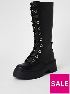 river-island-chunky-lace-up-biker-calf-boot-black