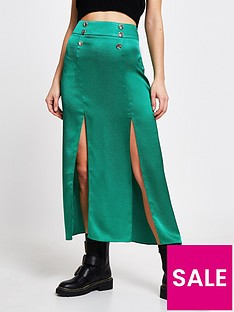 river-island-double-split-front-midi-skirt-green