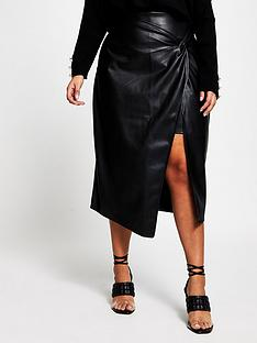 ri-plus-twist-wrap-pu-midi-skirt-black