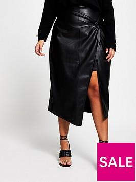 ri-plus-twist-wrap-pu-midi-skirt-black
