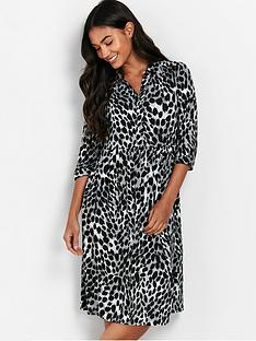 wallis-petite-animal-jersey-shirtnbspdress--nbspgrey