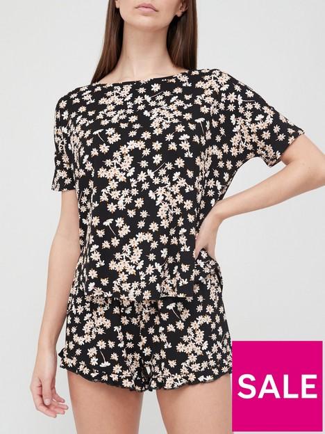 hunkemoller-loose-fit-daisy-shorts-pjnbspset-black