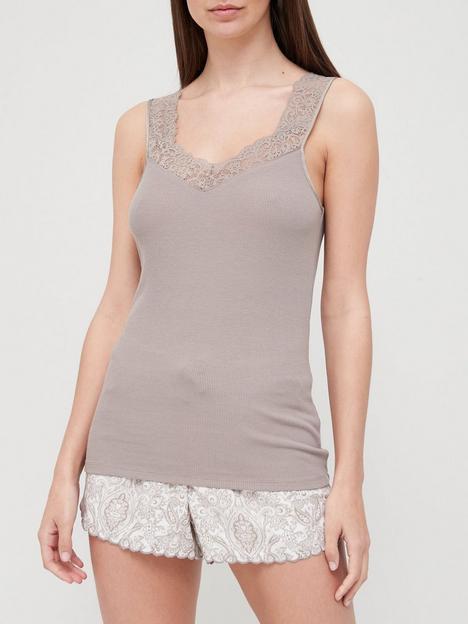 hunkemoller-ribbed-lace-cami-grey