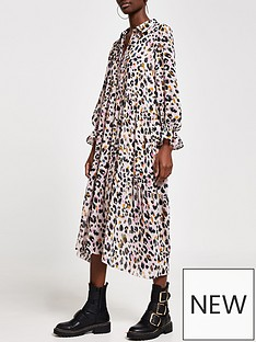 river-island-animal-print-smock-midi-shirt-dress-pink