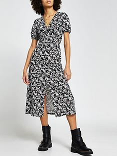 river-island-floral-v-neck-midi-dress-black