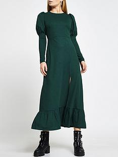 river-island-puff-sleeve-midi-dress-green